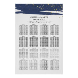 Watercolor Navy and Gold Wedding Seating Chart
