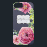 "Watercolor Navy Blue n Pink Peony Rose Faux Gold iPhone 8/7 Case<br><div class=""desc"">This hand watercolored floral wreath design with single burgundy peonies, hops and english roses in blush pink and magenta is combined with your choice of background color (here shown in navy blue). A coordinating bracket shaped frame with a faux gold glitter look edging is semi-transparent to let the pattern show...</div>"