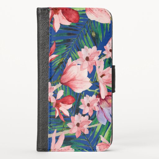 Watercolor navy blue red coral tropical floral iPhone XS wallet case