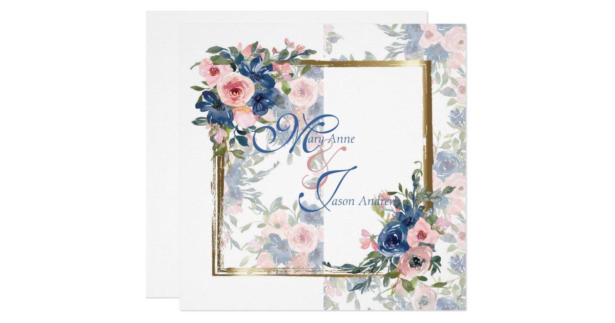 Watercolor Navy Blush Wedding Invitation Zazzle Com