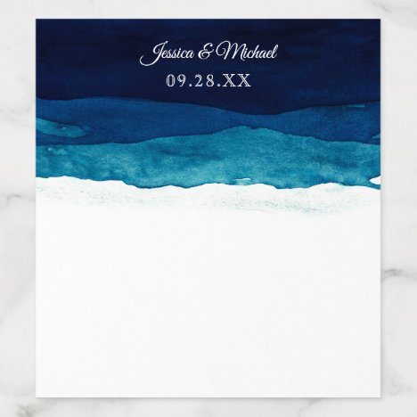 Watercolor Navy Deep Blue Wedding Envelope Liner