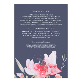 Watercolor Navy Flowers Bouquet Wedding Details Card