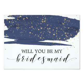 Watercolor Navy & Gold Will You Be My Bridesmaid Card