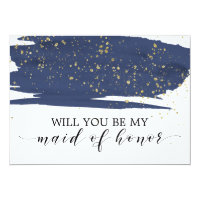 Watercolor Navy Gold Will You Be My Maid Of Honor Card