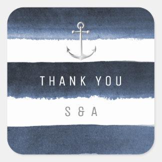 Watercolor navy stripes anchor beach wedding square sticker