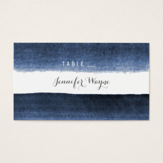 Watercolor navy stripes beach wedding place cards