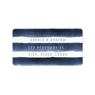 Watercolor navy stripes nautical beach wedding label