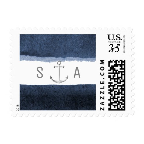 Watercolor navy stripes nautical beach wedding postage