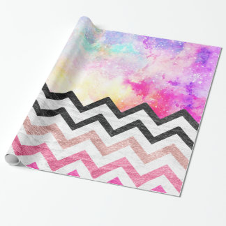 Watercolor nebula space pink ombre wood chevron wrapping paper