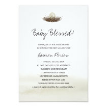 Watercolor Neutral Bird's Nest Baby Shower Invitation