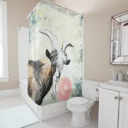 Watercolor Nigerian Goat Blows Bubblegum Bubble Shower Curtain