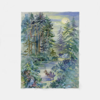 Watercolor Night Scene Small Fleece Blanket