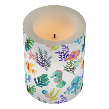 Beach Themed Watercolor Ocean Animals Octopus Seahorse Starfish Flameless Candle