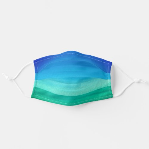 Watercolor Ocean Blue Green Ombre Beach Adult Cloth Face Mask