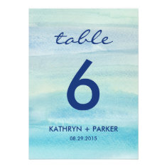 Watercolor Ocean Double-Sided Table Number Card Custom Invitations