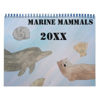 Watercolor Ocean Marine Mammals Calendar