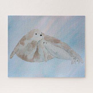Watercolor Ocean Mother Baby Harp Seals Jigsaw Puzzle