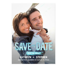 Watercolor Ocean Save The Date Cards Custom Invitation
