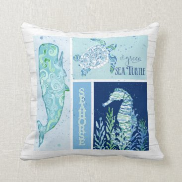 Beach Themed Watercolor Ocean Sea Turtle Seahorse Whale Wood Throw Pillow