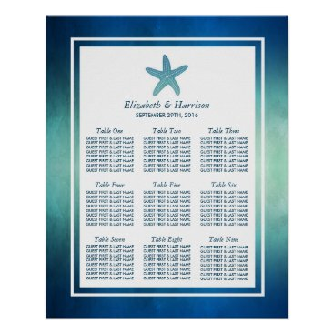 Beach Themed Watercolor Ocean Starfish Beach Wedding Seating Poster