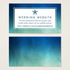 Watercolor Ocean Starfish Beach Wedding Website Business Card at Zazzle