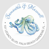 Watercolor Octopus Beach Wedding Return Address Classic Round Sticker