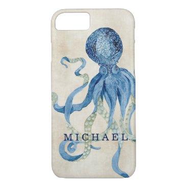 Beach Themed Watercolor Octopus Blue Grey Tan Ocean Beach Art iPhone 7 Case