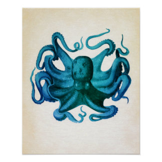 Watercolor Octopus Illustration Poster