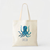 Watercolor Octopus Marine Kids Personalized Tote Bag