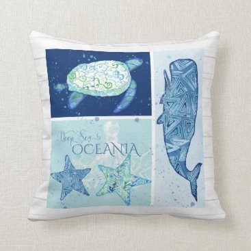 Beach Themed Watercolor Octopus Sea Turtle Starfish Whale Wood Throw Pillow