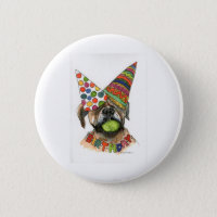 watercolor of Boxer   party hats, tennis ball Button