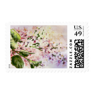 Watercolor of Lavender Lilac Flowers Postage