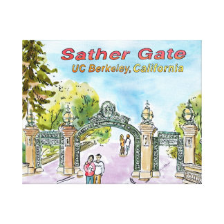 watercolor of Sather Gate, UC Berkeley Canvas Print