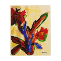 Watercolor of Spanish Flowers on wood Wood Print