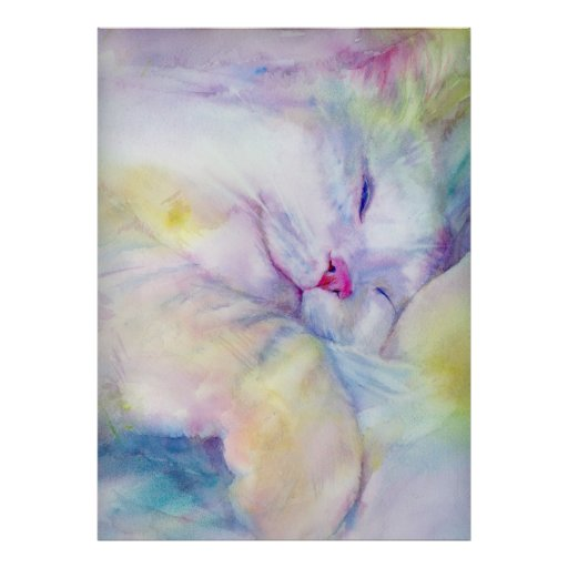 watercolor of  white cat sleeping on a white sheet posters