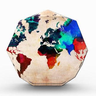 Watercolor old world map cute acrylic award