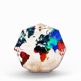 Watercolor old world map cute award