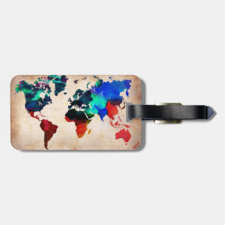 Watercolor old world map cute bag tag