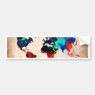 Watercolor old world map cute bumper sticker