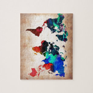 Old world map jigsaw puzzles zazzle watercolor old world map cute jigsaw puzzle gumiabroncs Gallery