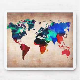 Watercolor old world map cute mouse pad