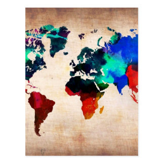 Watercolor old world map cute postcard