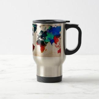 Watercolor old world map cute travel mug