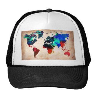Watercolor old world map cute trucker hat