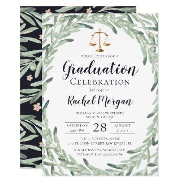 Watercolor Olive Branch Law School Graduation Invitation