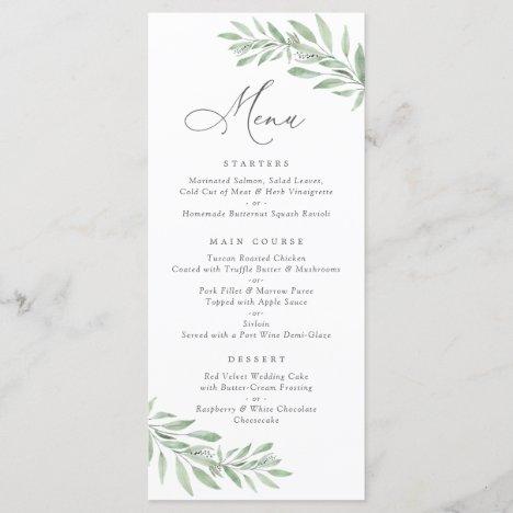 Watercolor Olive Branch Leaves Wedding Menu