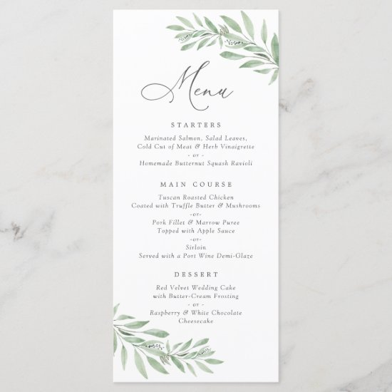 Watercolor Olive Branch Leaves Wedding Menu