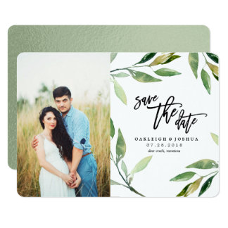 Watercolor Olive Branch Save the Date with Photo Card