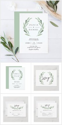 Watercolor Olive Branch Wreath Collection