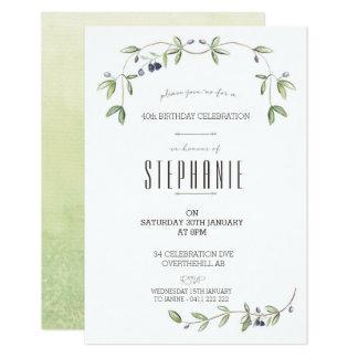 Watercolor Olive leaf vine invitation